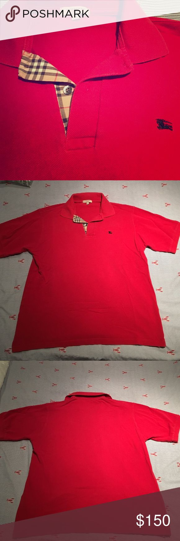 MEN'S BURBERRY Polo shirt Red Burberry shirt for men with plaid detailing at the collar. Military red cotton classic contrast short sleeve logo polo shirt from Burberry Brit. Worn with care. Burberry Tops Tees - Short Sleeve