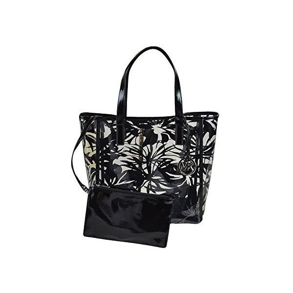 Michael Kors Eliza Medium Tropical-Print Clear Tote ($115) ❤ liked on Polyvore featuring bags, handbags, tote bags, tropical black, michael kors tote bag, black purse, michael kors purses, black handbags and clear handbags