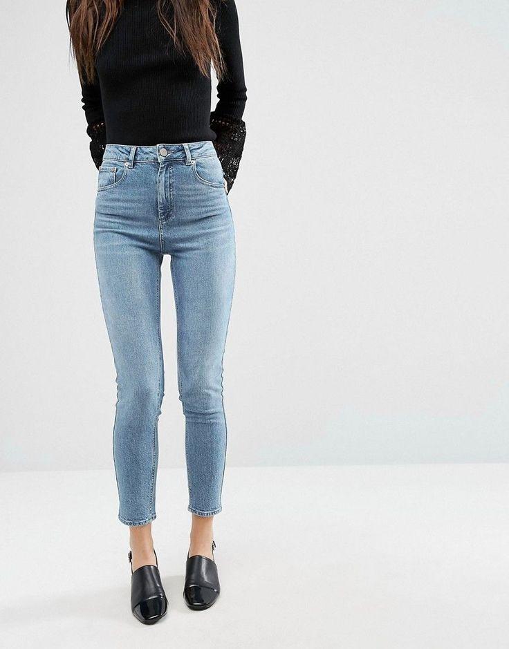 ASOS FARLEIGH High Waist Slim Mom Jeans in Prince Wash - Blue