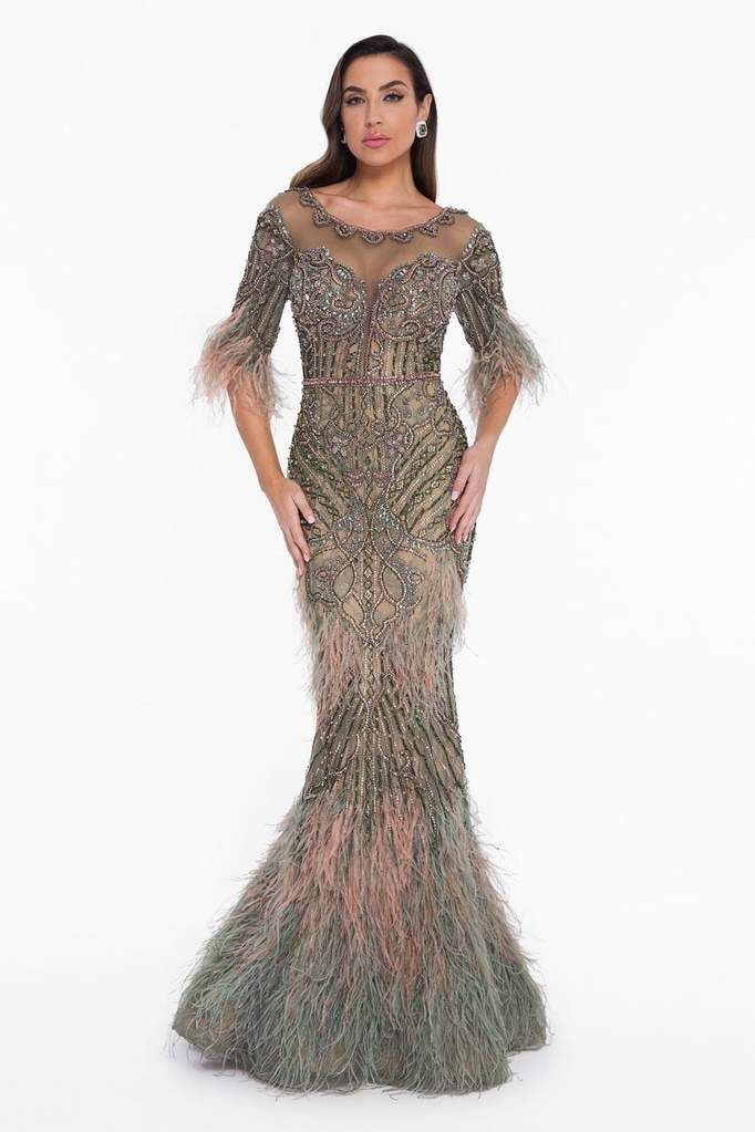 93e12a8d6fc1 Terani Couture 1821GL7412 creation. Complemented with a contrasting blend  of two-toned intricate beadwork, this divine piece flourishes an illusion  scoop ...