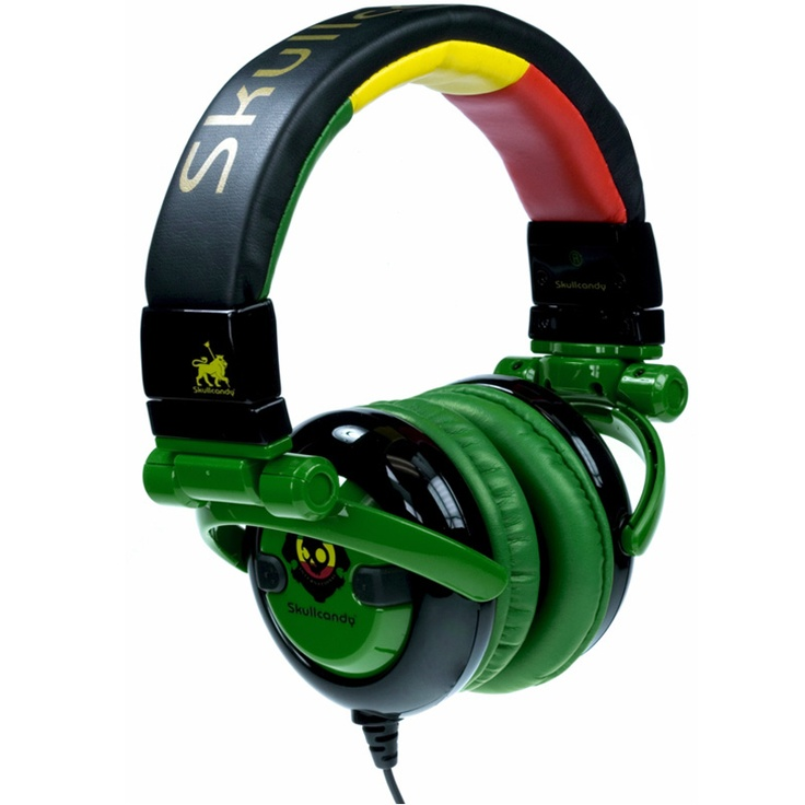 Rasta Skull candy headphones