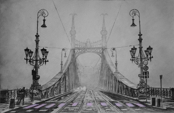 Liberty Bridge – (Budapest - Hungary), aquarelle 53 x 38, Arches 300 gr, Original - 600 Euro, Exclusive high end imprint on aquarelle paper - 100 Euro www.sandorszikszai.com