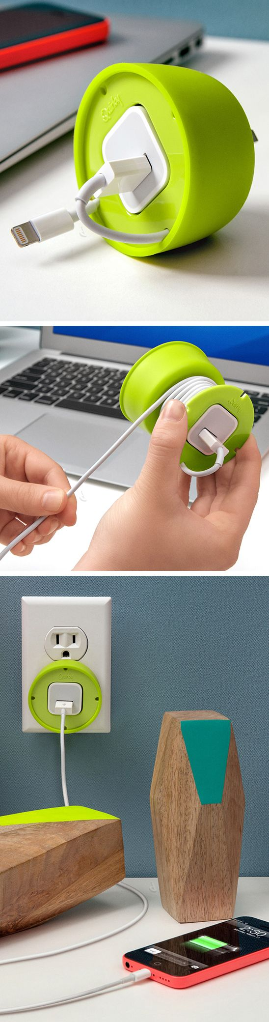 Powercurl mini green cable storage and cord organization, the silicone cover flips to either hide the cord mess or protects the prongs during transport. Genius! #product_design