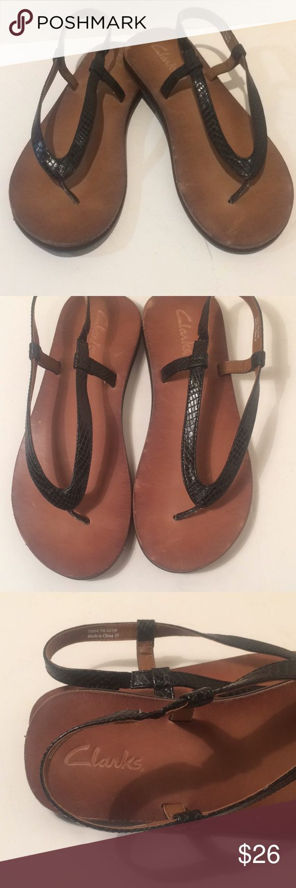 Clarks sandals shoes slip on no buckle thongs Clarks  Super cute for summer or your much needed get away!!! Size 7m they do not buckle they have hidden elastic for easy on.  I am a huge clarks / born shoes fanatic and am Doing a huge clean out most of my shoes have only been worn 1-2 times   Open to reasonable offers!! Clarks Shoes Sandals