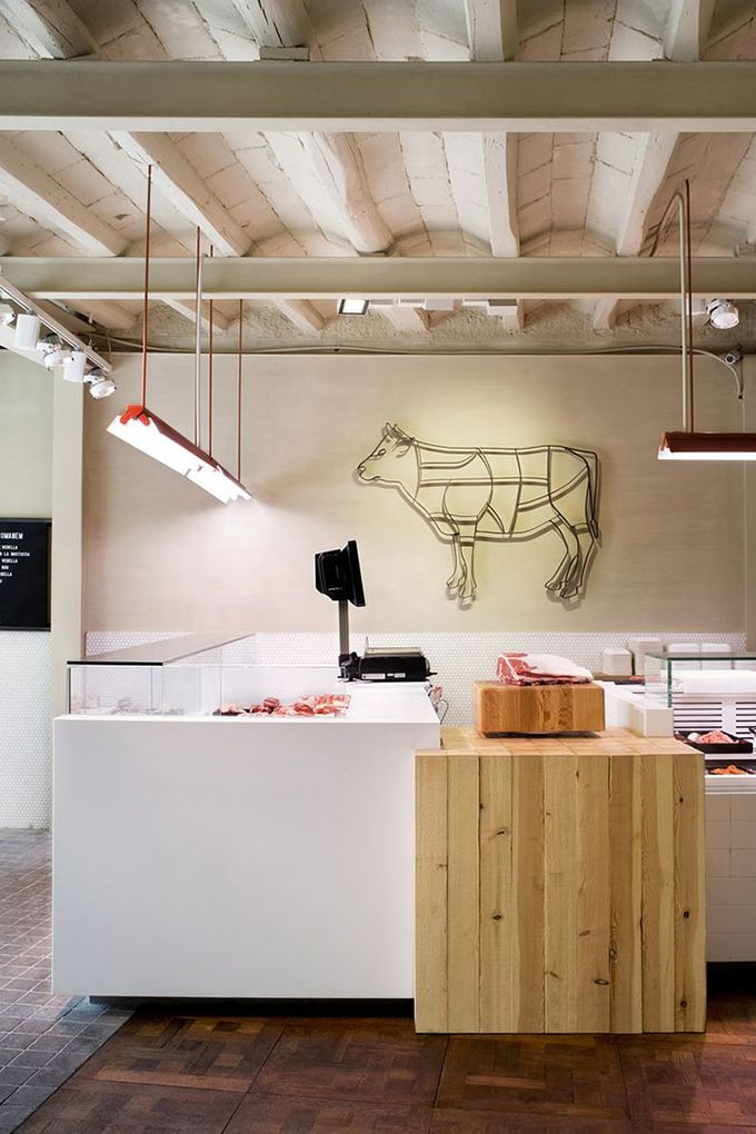 Corella Meat Shop, Barcelona Never tought a butcher's shop could be so  elegant and cozy. Spectacular industrial design idea for your own project.