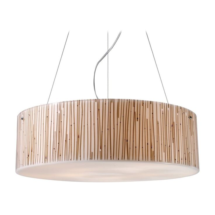 Elk Lighting Modern Drum Pendant Light with Brown Tones Glass in Polished Chrome Finish 19063/5