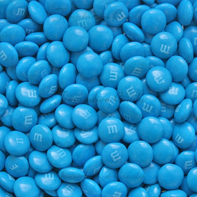 Blue M&M's, a popular choice for weddings and baby showers. #Chocolate