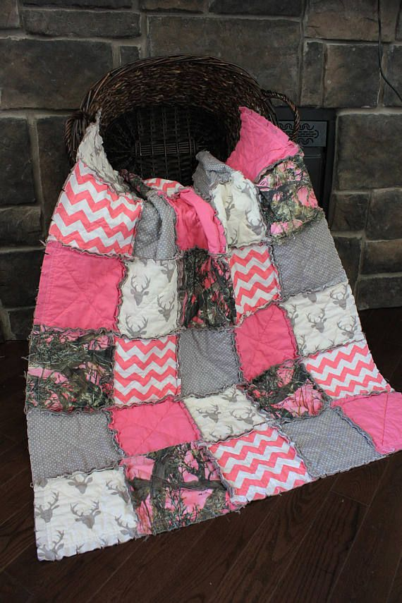 Baby Girl Rag QuiltGirl Camo Quilt Pink Camo Baby Quilt