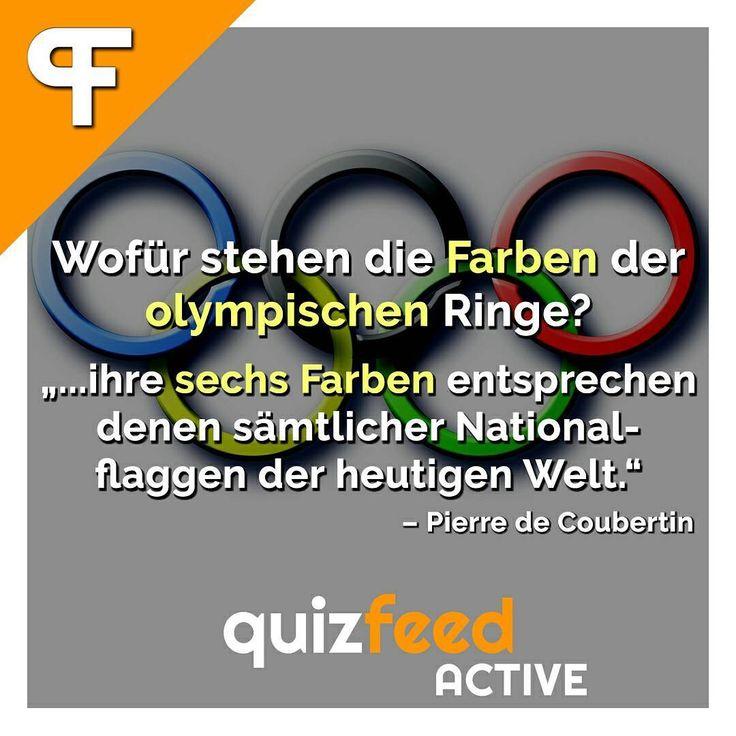 """Die sechste Farbe ist der weiße #Hintergrund. Die Olympischen Ringe wurden im Jahr 1913 von dem Baron Pierre de Coubertin entworfen. """"Ihre #Gestalt ist symbolisch zu verstehen. Sie stellt die fünf #Erdteile dar, die in der olympischen #Bewegung vereint sind."""" . Folge @quizfeed - 'Wissen clever verpackt'  Wofür stehen die Farben der olympischen Ringe? """"... ihre sechs Farben entsprechen denen sämtlicher Nationalflaggen der heutigen Welt."""" -Pierre de Coubertin"""