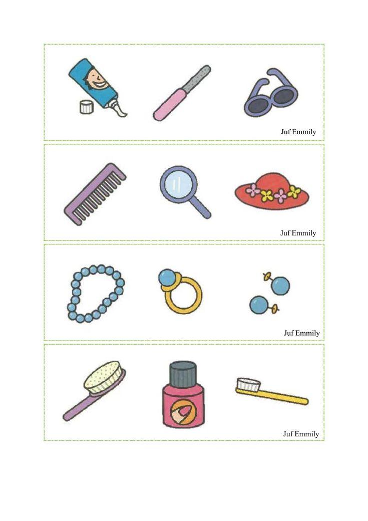 Thema Moederdag: Handtas vullen volgens opdrachtkaart (juf Emmily)