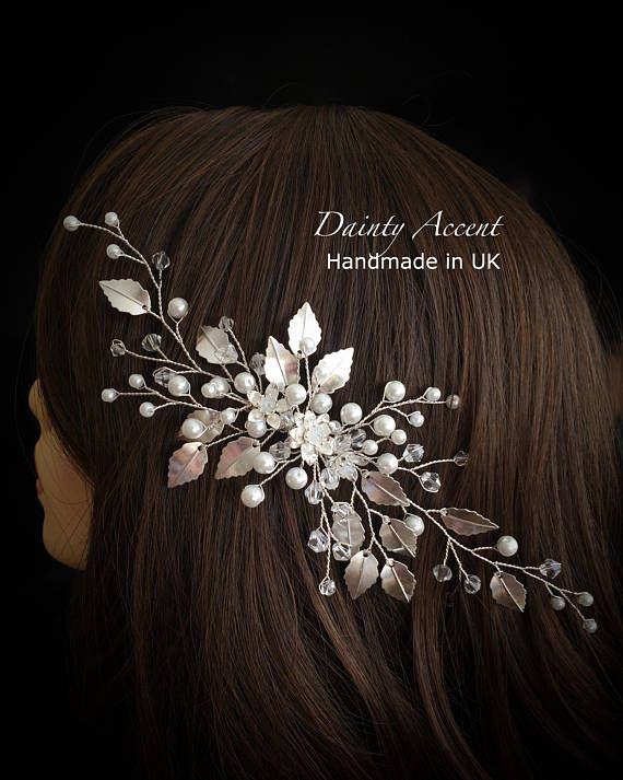 Pearl and Crystal Bridal Hair Comb with Silver Detail Pearl