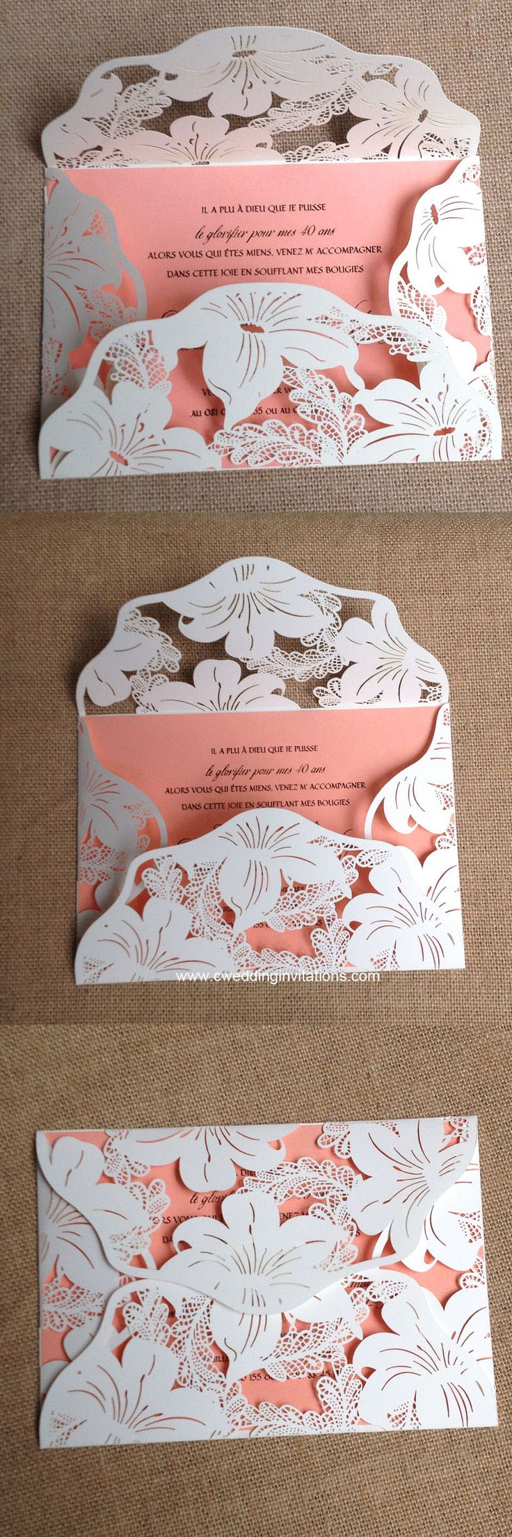 Lily blossom laser cut wedding invitations, 2016 New design laser cut wedding invitations, blush pink laser cut cards www.cweddinginvitations.com