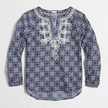 J.Crew Factory - Factory printed embroidered top