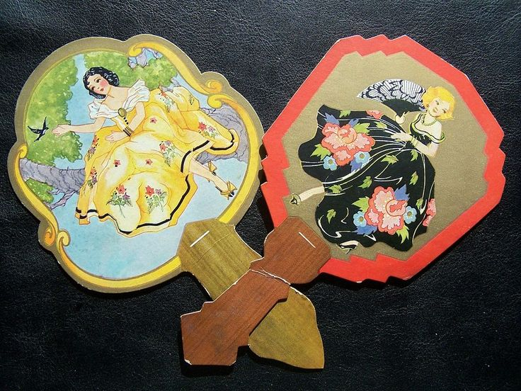 Pair of Early 1900s Bridge Tally Cards, Fans with Beautiful Ladies in Fancy Gowns  from Ruby Lane