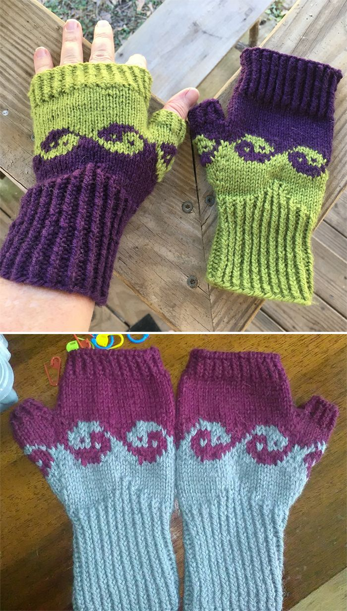 Free Knitting Pattern for YinYang Waves Mitts - Fingerless mitts with a yin yang motif in stranded colorwork. Designed by Etha Behrmann. Pictured projects by Pindalace and snieguolekil