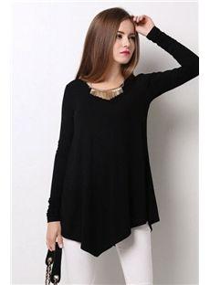 Ericdress Black Asymmetrical Casual Blouse