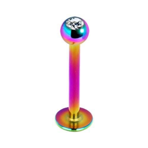 BodyJ4You Labret Monroe CZ Lip Stud Rainbow Titanium 16G Body Piercing Jewelry