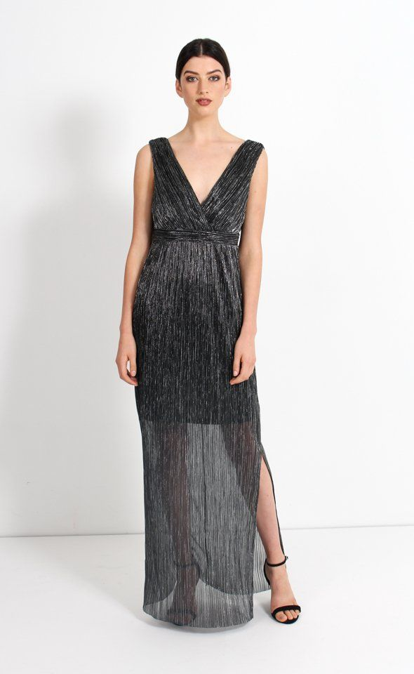 Exude elegance in this glitter mesh midnight gown. This show stopping style will make you centre of attention at your next event. Style with silver accessories to achieve outfit perfection.