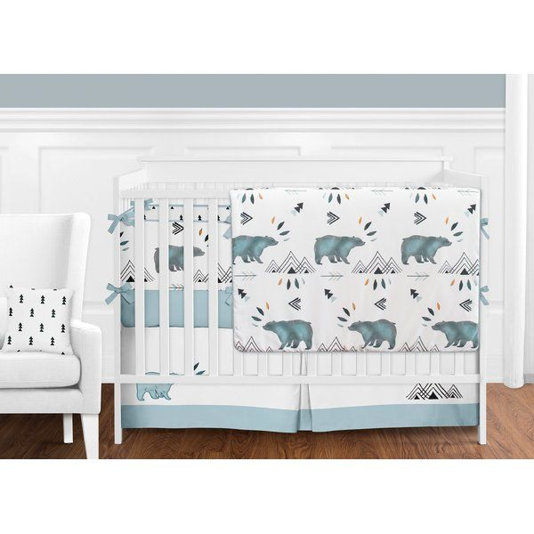 This Bear Mountain 9 Piece Crib Bedding Set has all that your little bundle of joy will need. Let the little 1 in your home settle down to sleep in this incredible nursery set. This baby boy bedding set features a stunning bear and mountain watercolor print, triangle tree print and solid slate fabric. This collection uses the stylish colors of cool. The design uses brushed microfiber fabrics that are machine washable for easy care. This wonderful set will fit most standard cribs and toddler…