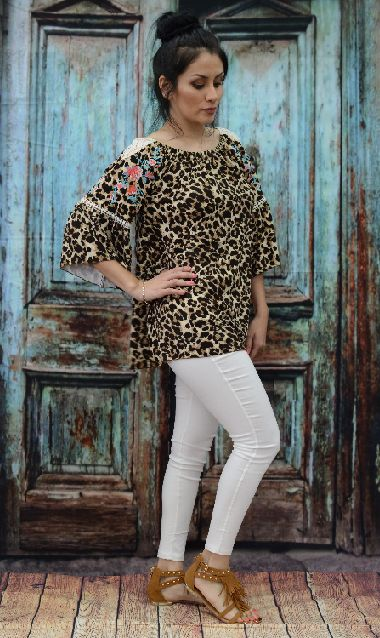 ! 0 Cheetah Embroidered Floral Top