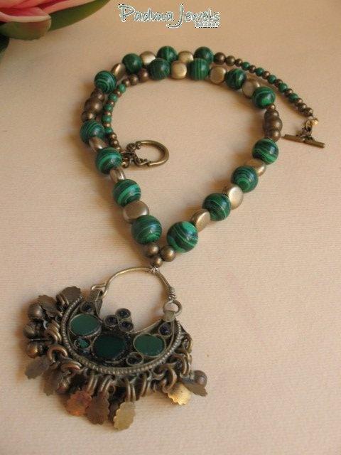 Vert malachite, brass and Kuchi pendant by PadmaJewels, via Flickr