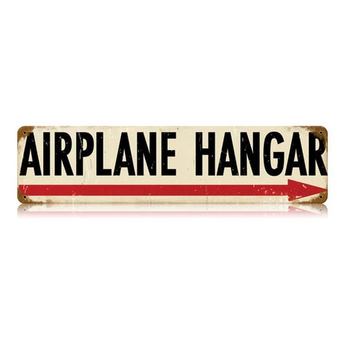 Airplane hangar vintage metal sign LOVE for boys room