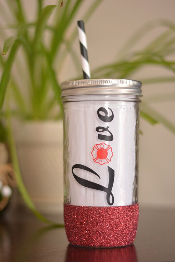 Firefighter LOVE Mason Jar Tumbler Dipped by SillyGeeseBoutique