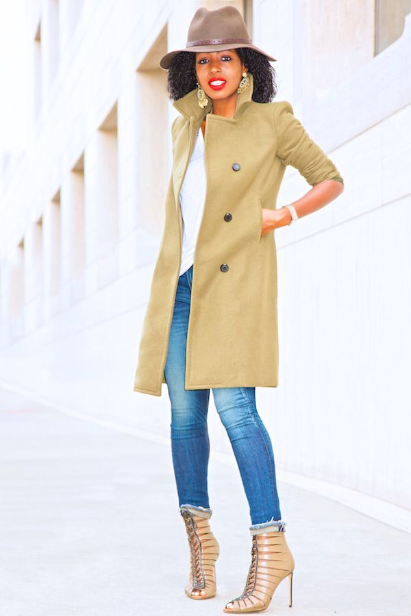 Fedora Hat + Military Peacoat + Cropped Skinnies