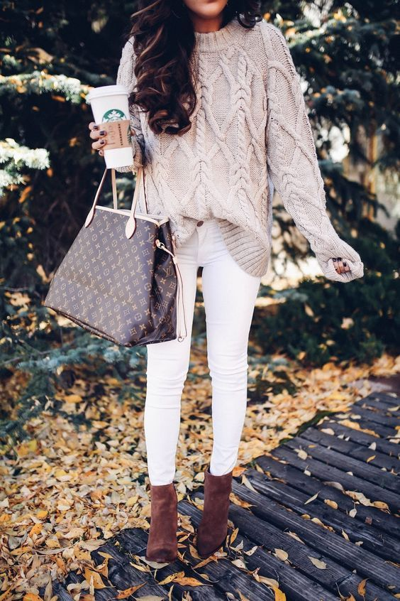 obsessed! this cable knit sweater, beige + white, and the dark brown ankle boots!