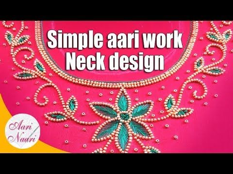 a3bff6f53 Simple aari neck design tutorial | hand embroidery work | maggam work  tutorial - YouTube