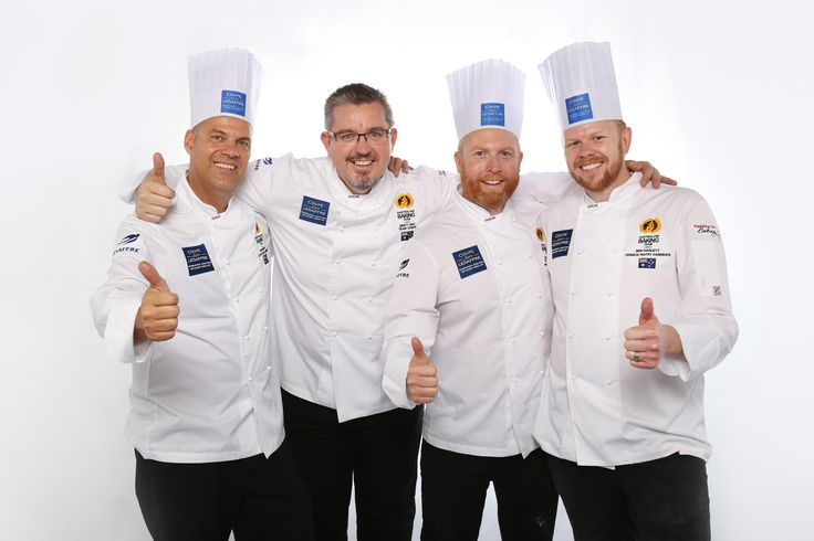 [AUSTRALIA TEAM - Asia Selection - Louis Lesaffre Cup]  Dean TILDEN - Breads candidate  Ben HASLETT - Viennese pastries candidate Dean GIBSON - Artistic piece candidate And coach Brett NOY  #BakeryLesaffreCup #Asia #Australia #bread #baking #SIALInterFOOD2015