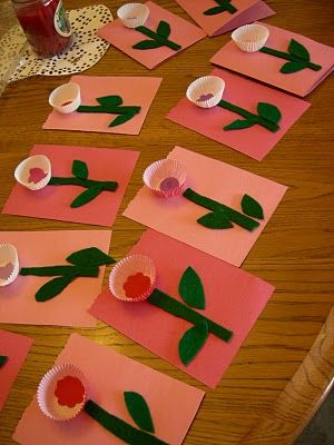 Toddler-made Flower Valentines