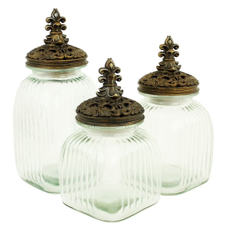 aspire home accents amora glass jars with lids set of - Glass Containers With Lids