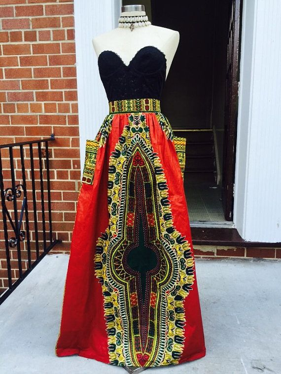 Burgundy dashiki skirt by Roshes on Etsy