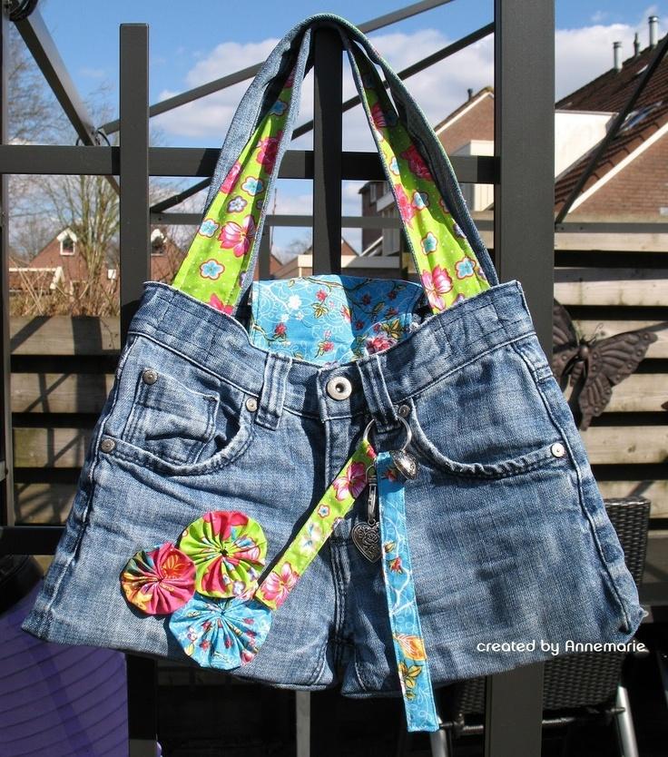 Annemaries scrap dingen: Tas van oude spijkerbroek