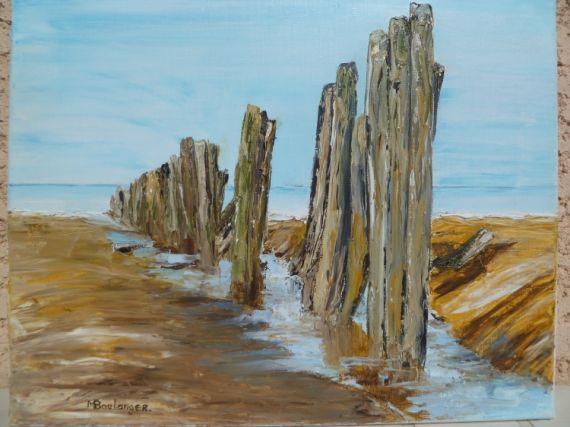 TABLEAU PEINTURE piquet mer Marine Peinture a l'huile  - Brise-lames N°1 (Oye-Plage)