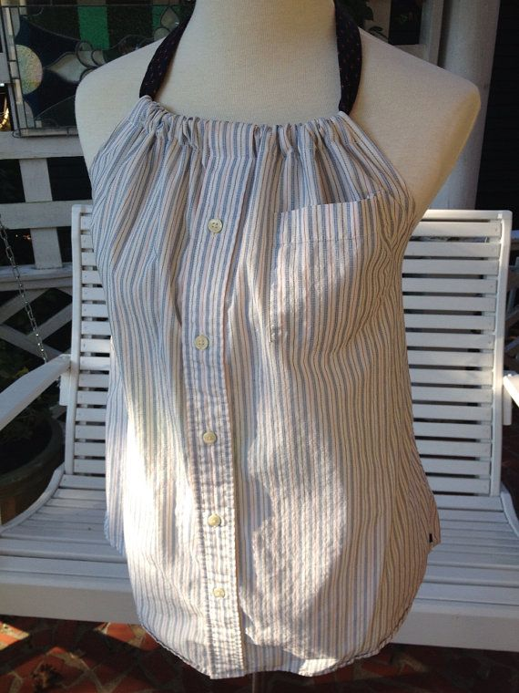 Upcycled shirt refashion  halter top by KDsquared on Etsy, $42.50