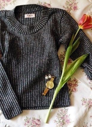 Sweter siwy czarny srebrny A.M.G.