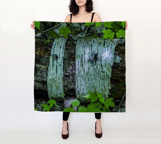 """Birch Forest  36""""X 36"""" Large Square Silk Scarf by LOVEMIZU on Etsy"""