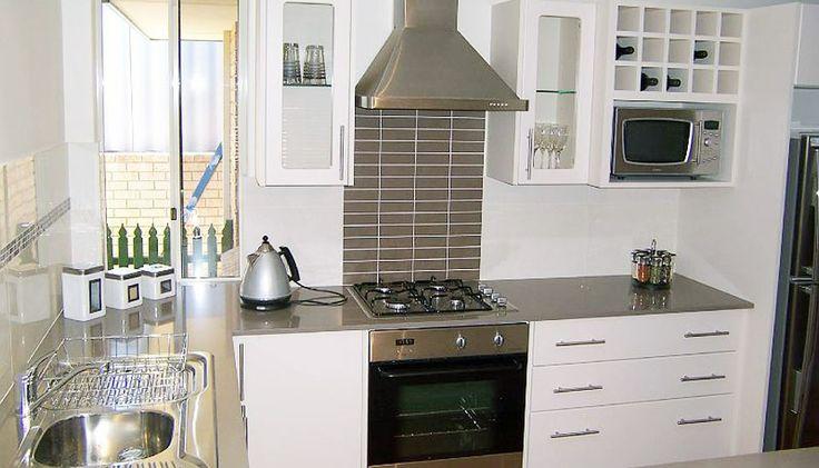 A sleek modern kitchen design.