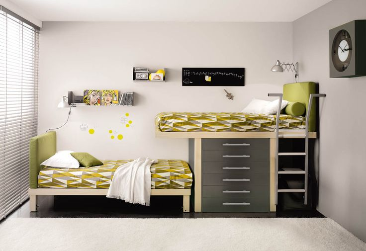 Perfect for narrow rooms, Drawer Storage underneath the top bunk.