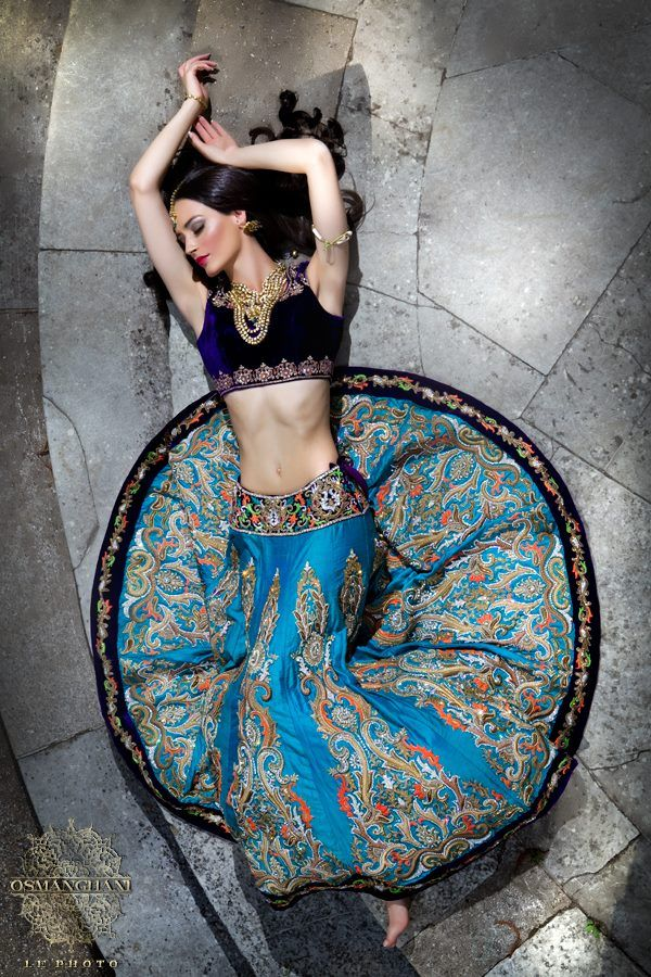 Blue lengha by Ekta Solanki. Photo by Osman Ghani