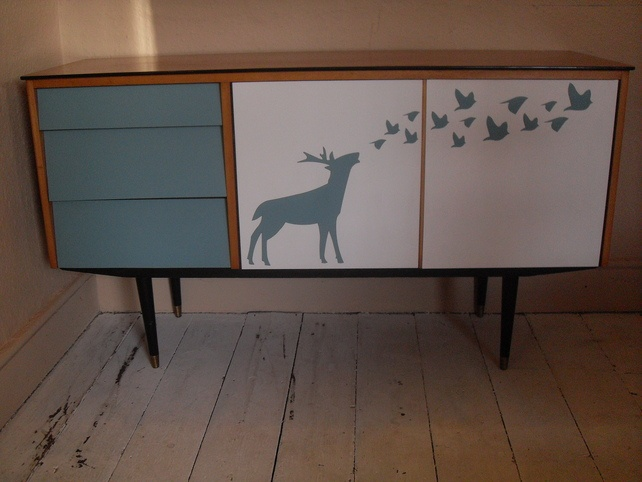 Up-Cycled retro 50s 60s sideboard with deer and bird detail