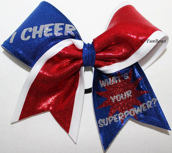 I CHEER what's YOUR superpower custom cheerleading bow by FunBows, $18.00