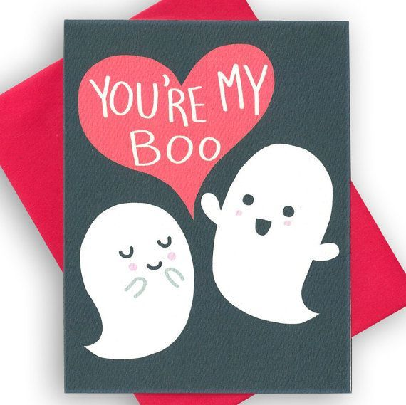 Halloween Love Card, You're My Boo, Funny Love Card, Ghost Card, Couples Anniversary Card, Card for Him, Girlfriend Card, Happy Halloween