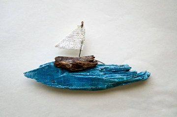 hand painted blue wave with a little ship over it. wooden boat on a blue wave is a driftwood art, painted with acrylic paint, featuring a wooden