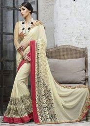 Party Wear Net Cream Embroidered Work Saree