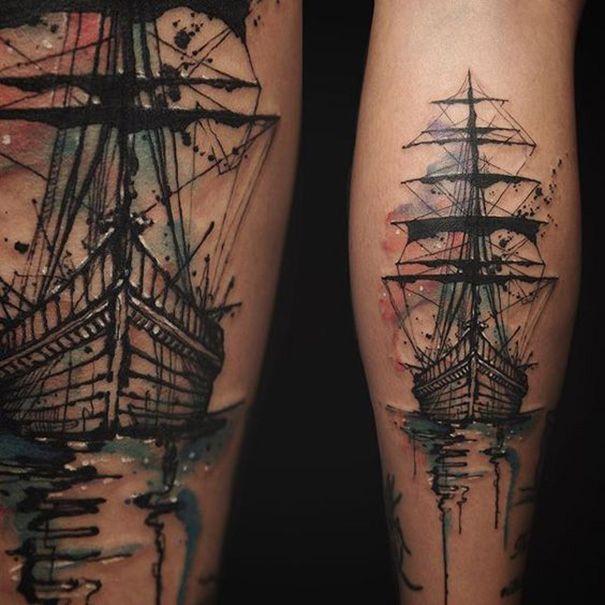Nautical tattoos; Ship tattoo designs