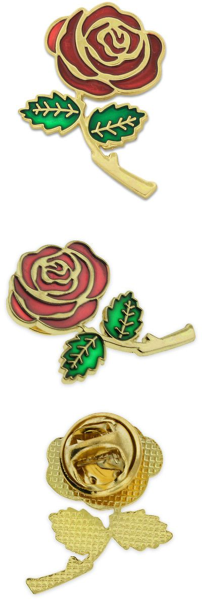 Pins and Brooches 50677: Pinmarts Colored Red Rose Flower Enamel Lapel Pin 1 BUY IT NOW ONLY: $162.48
