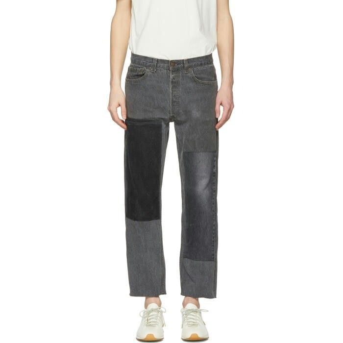 B Sides Black Cropped Large Two Patch Jeans